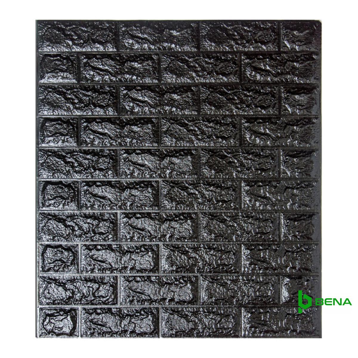 Самоклеющаяся декоративная 3D панель под черный кирпич Bena
