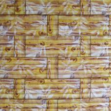 Самоклеющаяся декоративная 3D панель бамбуковая кладка желтая Bena