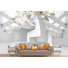 Фотообои 3Д белые лилии на потолке