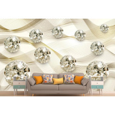 Фотообои 3Д  золотой атлас с бриллиантами
