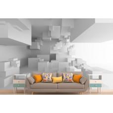 Фотообои 3Д перспектива из белых кубов