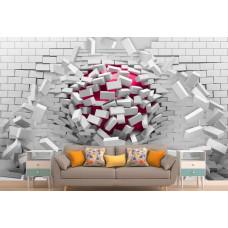 Фотообои 3Д белая кирпичная стена, красный шар