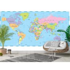 Фотообои географическая карта мира
