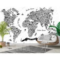 Фотообои черная географическая карта мира на белом фоне