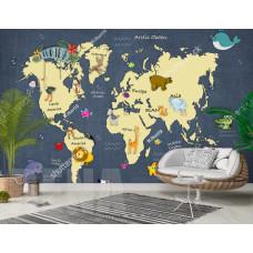 Фотообои карта мира, континенты, животные