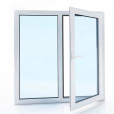 Окно металлопластиковое Bena двухстворчатое, одна часть поворотно-откидная (1000х1100), белое