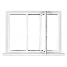 Окно пластиковое Bena трехстворчатое, одна часть поворотно-откидная (2000х1600), белое