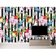 Фотообои Полосатая стена с цветами