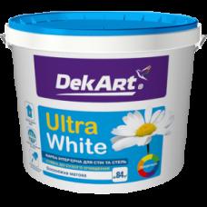 """Краска интерьерная для стен и потолков """"Ultra White"""" DekArt белоснежная 1,2 кг"""