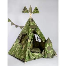 Вигвам-палатка «Военный» с ковриком-подушками BENA